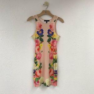 Derek Heart Floral Peach Body Con Dress Size M